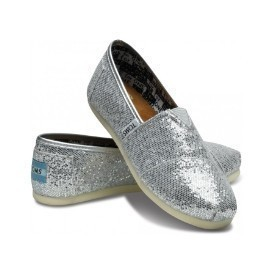 Toms Youth Silver Glitter Shoe Thumbnail