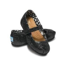 Toms Tiny Mary Janes Black Glitter Shoe Thumbnail