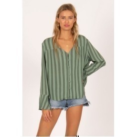 Amuse SHIRT LS BUTTON STRIPE GREEN Thumbnail